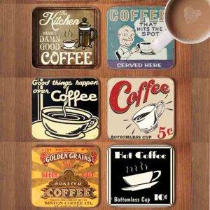Σουβέρ Ξύλινα Χειροποίητα Coffee Σετ 6 τεμάχια 60030