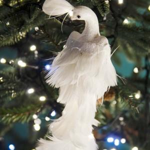 Λευκό Χριστουγεννιάτικο διακοσμητικό παγόνι με πουπουλένια ουρά 40 εκ