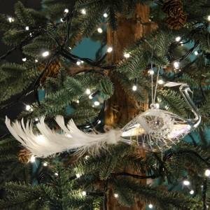 Χριστουγεννιάτικο γυάλινο στολίδι παγονιού σε διάφανη απόχρωση με λευκή πουπουλένια ουρά 23 εκ