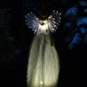Επιτραπέζιος διακοσμητικός Χριστουγεννιάτικος άγγελος με λευκό φόρεμα φωτιζόμενος από λαμπάκια led 50 εκ