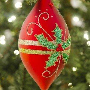 Στολίδι από γυαλί σε κόκκινο χρώμα διακοσμημένο με πέρλες 15 εκ