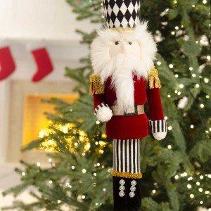 Επιτραπέζιο διακοσμητικό Χριστουγεννιάτικος στρατιώτης με καρώ καπέλο 40 εκ