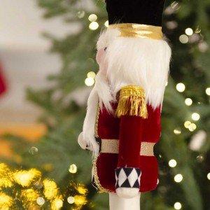 Επιτραπέζιο διακοσμητικό Χριστουγεννιάτικος στρατιώτης με μαύρο καπέλο 40 εκ