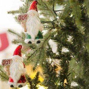 Γυάλινα Χριστουγεννιάτικα στολίδια κρεμαστά κόκκινος και πράσινος νάνος  σετ των δύο 14 εκ