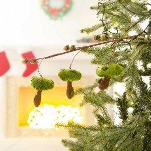 Διακοσμητικό κλαδί με μανιτάρια σε πράσινη απόχρωση 60 εκ