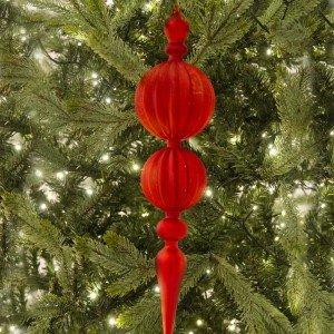 Χριστουγεννιάτικο στολίδι από γυαλί σε κόκκινο χρώμα κρακελέ 42 εκ