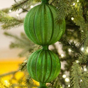 Χριστουγεννιάτικο στολίδι από γυαλί σε πράσινο χρώμα κρακελέ 42 εκ