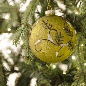 Χριστουγεννιάτικες μπάλες κρακελέ σε γήινες αποχρώσεις διακοσμημένες με γκλίτερ σε τρία σχέδια σετ των τριών 10 εκ