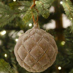 Χριστουγεννιάτικες μπάλες γυάλινες σε καφέ αποχρώσεις με μοτίβο σετ των δύο 10 εκ