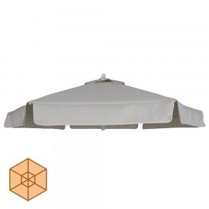 Αδιάβροχο στρογγυλό ανταλλακτικό πανί ομπρέλας εκρού με βολάν και αεραγωγό 220 εκ