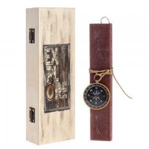 Λαμπάδα Πασχαλινή Explore χειροποίητη διακοσμημένη με πυξίδα 7x4x22 εκ