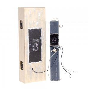 Λαμπάδα Πασχαλινή I need my Space σε ξύλινο κουτί 7x4x22 εκ