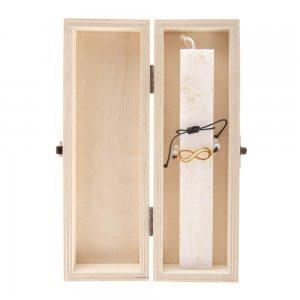 Χειροποίητη λαμπάδα με άρωμα σε ξύλινο κουτί και κόσμημα 7x4x22 εκ