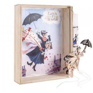 Mary Poppins χειροποίητη Πασχαλινή λαμπάδα σε χειροποίητο κουτί με plexiglass 22x7x29 εκ