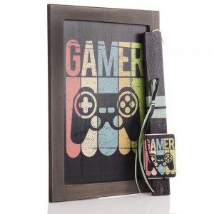 Πασχαλινή αρωματική λαμπάδα Gamer με διακοσμητικό χειροποίητο πινακάκι 23x33 εκ