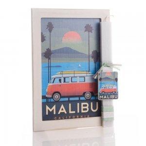 Malibu πασχαλινή λαμπάδα αρωματική με χειροποίητο ξύλινο πινακάκι 23x33 εκ