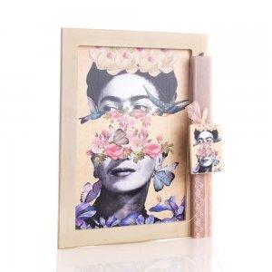Frida Kahlo πασχαλινή αρωματική λαμπάδα με χειροποίητο πινακάκι 23x33 εκ