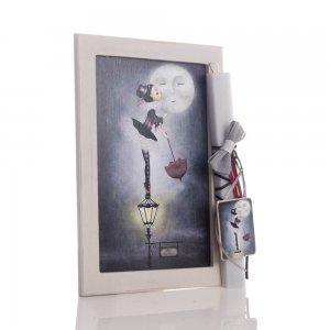 Kiss the moon αρωματική πασχαλινή λαμπάδα με διακοσμητικό χειροποίητο πινακάκι 23x33 εκ