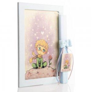 Μικρός Πρίγκιπας πασχαλινή αρωματική λαμπάδα με χειροποίητο πινακάκι 23x33 εκ