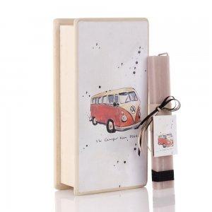 Αρωματική πασχαλινή λαμπάδα Vintage VW με χειροποίητο διακοσμητικό κουτί 25x13x7 εκ