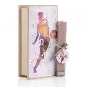 Πασχαλινή λαμπάδα αρωματική με θέμα Ποδόσφαιρο και ξύλινο χειροποίητο κουτί 25x13x7 εκ
