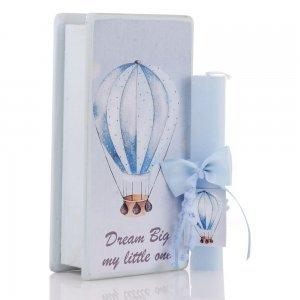 Αρωματική λαμπάδα με θέμα Αερόστατο και ξύλινο διακοσμητικό χειροποίητο κουτί 25x13x7 εκ