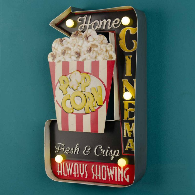 Retro πινακίδα με led φωτισμό Home Cinema 24x40 εκ