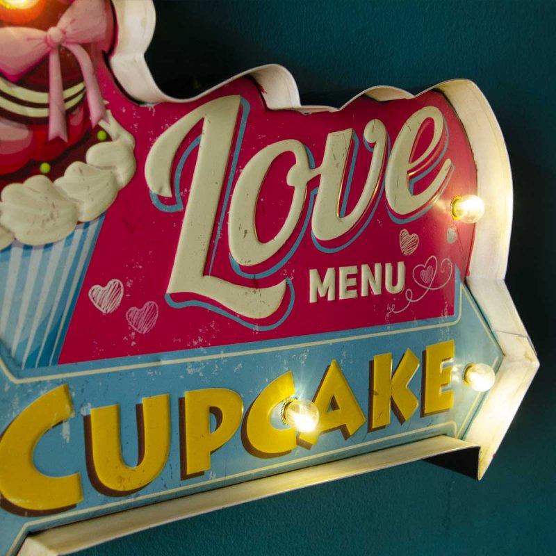 Διακοσμητική ρετρό πινακίδα Cupcakes με led φωτισμό  37x25 εκ