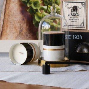 Αρωματικό κερί από σόγια σε γυάλινο βαζάκι ζωγραφισμένο στο χέρι με άρωμα καρύδας 9x8 εκ
