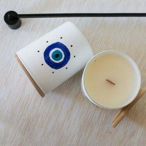 Αρωματικό κερί σόγιας σε γυάλινο βαζάκι ζωγραφισμένο στο χέρι με άρωμα μαστίχας 9x8 εκ