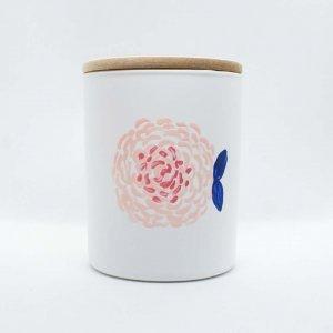 Αρωματικό κερί σόγιας σε γυάλινο βαζάκι ζωγραφισμένο στο χέρι με άρωμα λουλουδιών 9x8 εκ