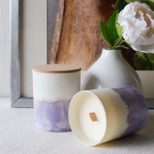 Κερί αρωματικό σόγιας σε γυάλινο βαζάκι ζωγραφισμένο στο χέρι με άρωμα λεβάντας 9x8 εκ