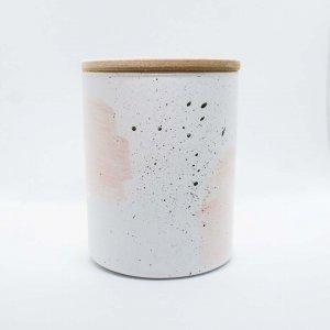 Αρωματικό κερί σόγιας σε γυάλινο βαζάκι ζωγραφισμένο στο χέρι με πλούσιο άρωμα κρέμας φουντουκιού 9x8 εκ