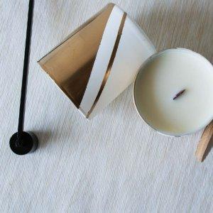 Αρωματικό κερί από σόγια σε γυάλινο βαζάκι ζωγραφισμένο στο χέρι με άρωμα εσπεριδοειδών 9x8 εκ