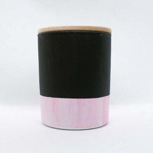 Κερί αρωματικό από σόγια σε γυάλινο βαζάκι ζωγραφισμένο στο χέρι με άρωμα μαύρης ορχιδέας 9x8 εκ