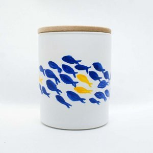 Αρωματικό κερί σόγιας σε γυάλινο βαζάκι ζωγραφισμένο στο χέρι με άρωμα θάλασσας 9x8 εκ