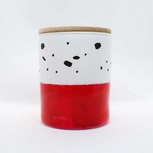 Αρωματικό κερί σόγιας σε γυάλινο βαζάκι ζωγραφισμένο στο χέρι με άρωμα πορτοκαλιού κανέλας και γαρύφαλου 9x8 εκ