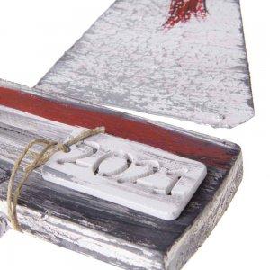 Χειροποίητο γούρι κεράβι κρεμάστρα από ξύλο 12x4x28 εκ
