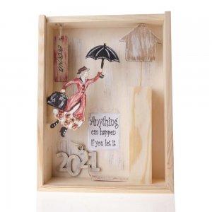 Γούρι Mary Poppins σε ξύλινο κουτί 22x7x29 εκ