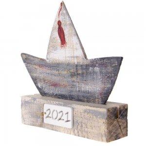 Γούρι 2021 χειροποίητο ξύλινο καραβάκι 14x3x13 εκ