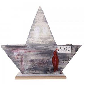 Χειροποίητο γούρι 2021 καραβάκι από ξύλο 23x6x20 εκ