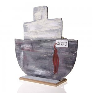 Γούρι 2021 ξύλινο καράβι σε γκρι απόχρωση 24x7x22 εκ
