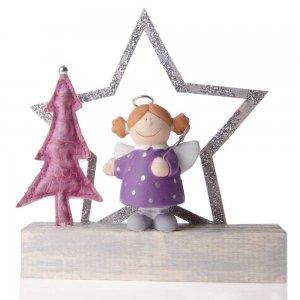Επιτραπέζιο γούρι αγγελάκι με μωβ φόρεμα με αστέρι 16x3x19 εκ