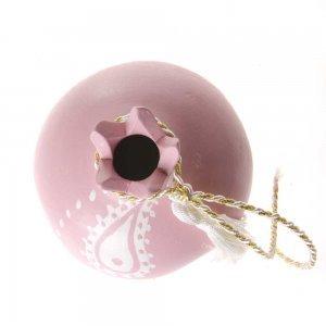Διακοσμητικό ροζ ρόδι χειροποίητο γούρι 9x10x9 εκ