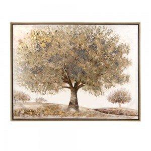 Πίνακας ζωγραφικής με χρυσό δέντρο και χρυσή κορνίζα 125x95 εκ
