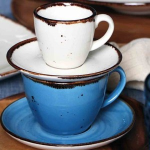 Terra Blue φλυτζάνι και πιατάκι για καφέ σετ των έξι τεμαχίων 220 ml