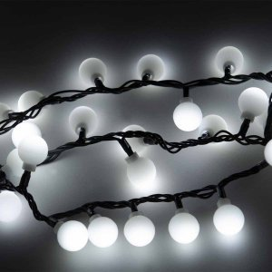 100 led caps αδιάβροχα λαμπάκια λευκού φωτός με πράσινο επεκτεινόμενο καλώδιο και μετασχηματιστή ρεύματος IP44