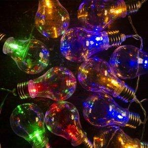 20 led αδιάβροχα vintage λαμπάκια IP44 με διάφανο καλώδιο και πολύχρωμο φως και μετασχηματιστή ρεύματος 4 μ