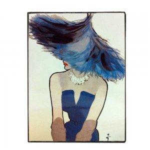 Γυναίκα με μπλε καπέλο και φόρεμα Χειροποίητο ξύλινο πινακάκι
