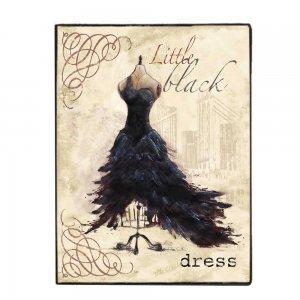 Little Black Dress vintage χειροποίητο ξύλινο πινακάκι